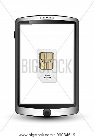 Smartphone And Sim Card, Vector Illustration