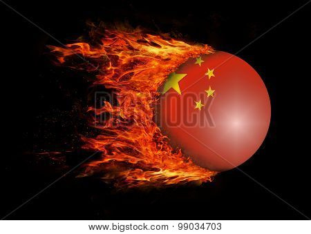 Flag With A Trail Of Fire - China