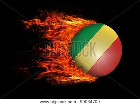 Flag With A Trail Of Fire - Congo