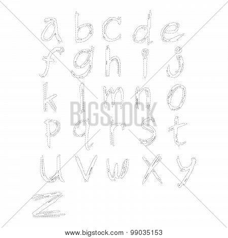 Vector Illustration Black Polka Dot Spotted Alphabet Lowercase Letters