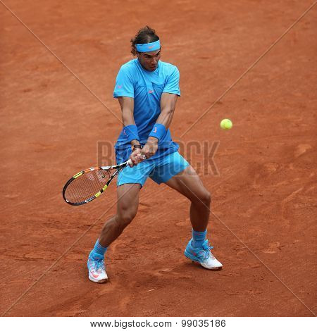 Fourteen times Grand Slam champion Rafael Nadal in action during match at Roland Garros 2015