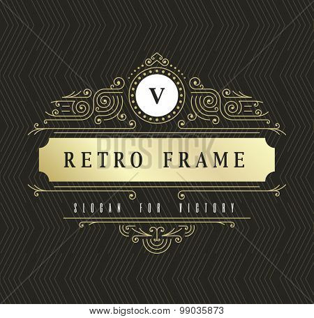 Luxury Vector Logo Template. Calligraphic elegant Ornament lines Illustration. Business Sign or Monogram for Identity of Invitations, Posters, Badges. Signboard of Boutique, Cafe, Hotel,  Jewelry