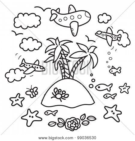 Freehand drawing - paradise island in fish tank, flying airplanes - concept of dream about vacations. Outline drawing good for coloring books