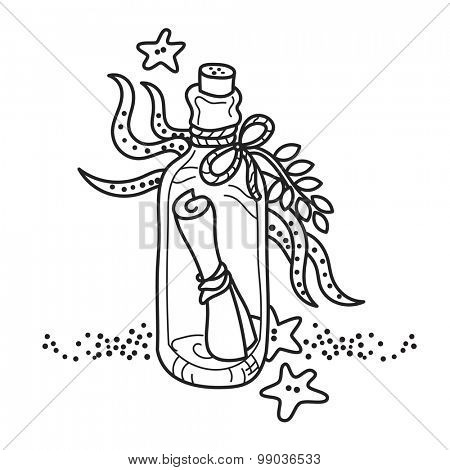 Message in a bottle on sea bottom. Free hand drawing. Good for coloring books