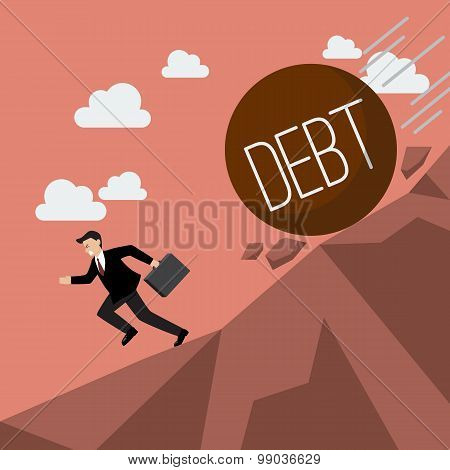 Businessman Running Away From Heavy Debt That Is Rolling Down To Him