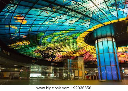 KAOHSIUNG TAIWAN - APR 21 : The Fomosa Bolevard Station this station has beautiful Dome of Light the central station of Kaohsiung subway system in Kaohsiung Taiwan on April 21 2015