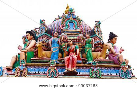 Hindu God Statues At A Hindu Temple In Isolated