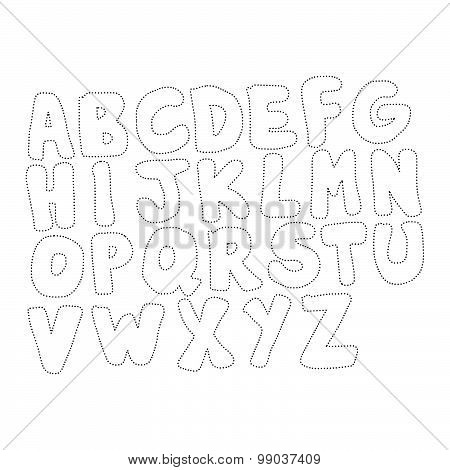 Vector Illustration Black Polka Dot Spotted Alphabet Uppercase Letters