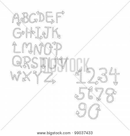 Vector Illustration Black Polka Dot Spotted Alphabet Uppercase Letters And Numbers With Arrow