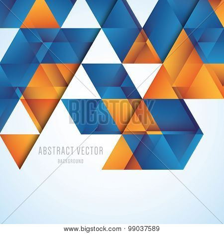 Abstract orange and blue triangles vector background