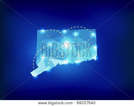 Connecticut State Map Polygonal With Spot Lights Places