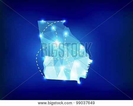 Georgia Us State Map Polygonal With Spot Lights Places