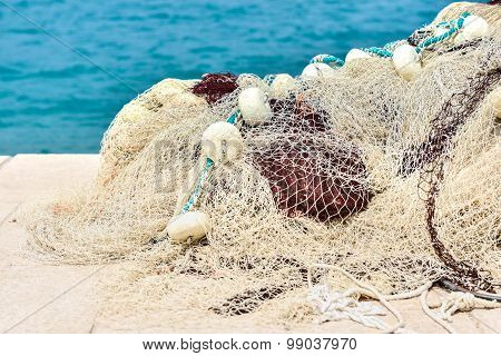 Stacked And Piled Fishing Nets