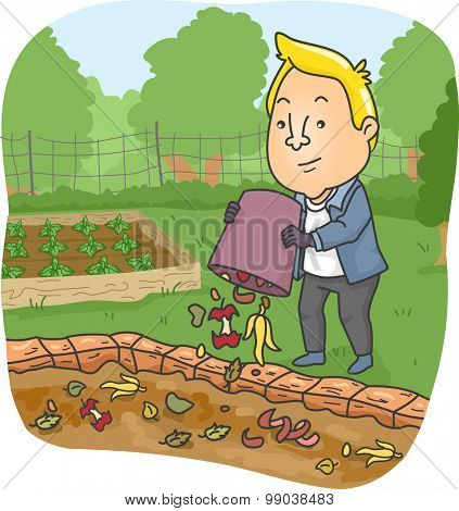 Illustration of a Man Dumping Food Scraps on His Compost Pit