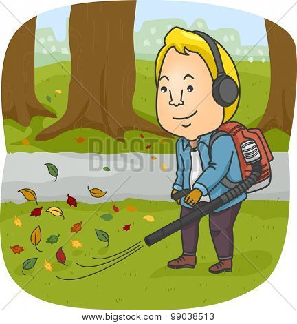 Illustration of a Man Using a Leaf Blower to Clear His Yard of Leaves