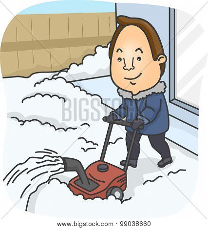 Illustration of a Man Using a Snow Blower to Clear His Front Yard