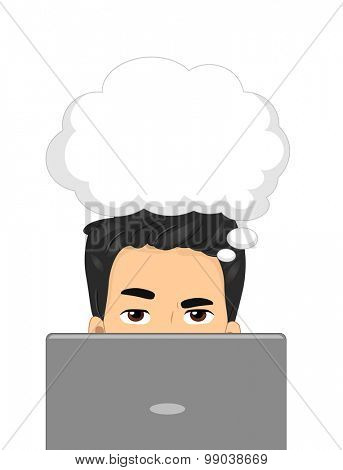 Illustration of a Man Using a Laptop While a Thought Bubble Hovers Over His Head