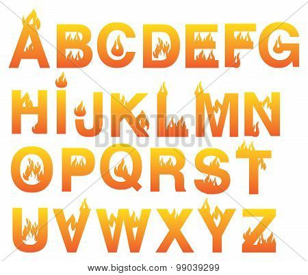 Fiery Alphabets Vector Font Set