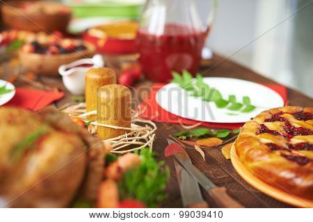 Rustic table with different viands