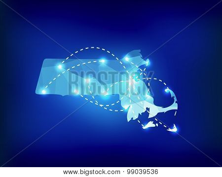 Massachusetts State Map Polygonal With Spot Lights Places