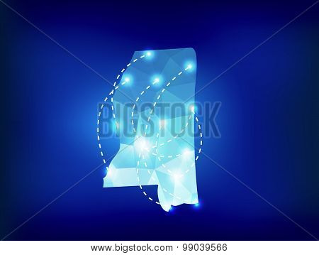 Mississippi State Map Polygonal With Spot Lights Places