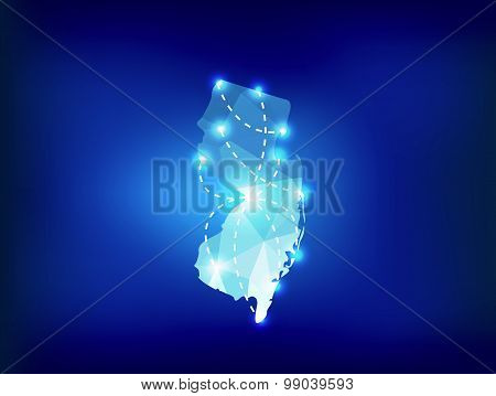 New Jersey State Map Polygonal With Spot Lights Places