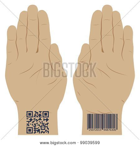 Hand With A Bar Code.