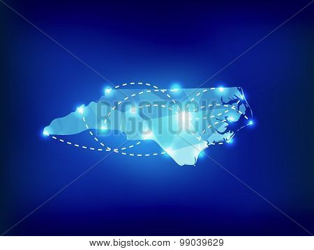 North Carolina State Map Polygonal With Spot Lights Places