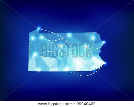 Pennsylvania State Map Polygonal With Spot Lights Places