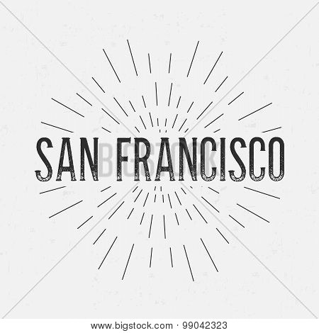Abstract Creative concept vector design layout with text - San Francisco. For web and mobile icon is