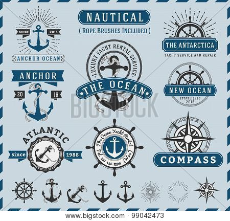 Set of Nautical, Navigational, Seafaring and Marine insignia logotype vintage design