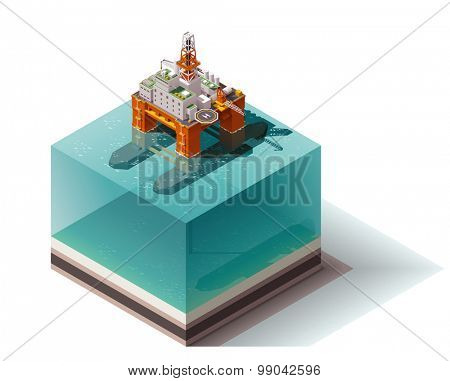 Isometric icon set representing offshore oil platform