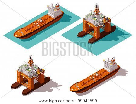 Isometric icon set representing oil platform and tanker