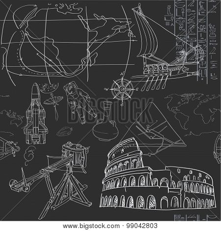 Seamless Pattern Of The Doodles Historic Events Isolated On Blac