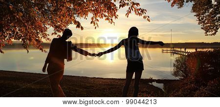 Girl Friends At The Lakeshore - Summer Evening At Lake Starnberg