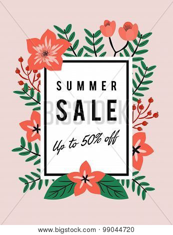 Summer Sale Discount Promotion Banner Template With Copy Space