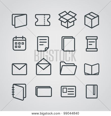 Different paper stuff vector icons collection