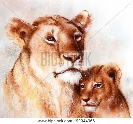 lion mother and lion cub, painting on paper. with spots abstract background