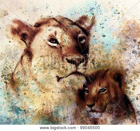lion mother and lion cub, painting on paper. with spots abstract background, rust structure and old