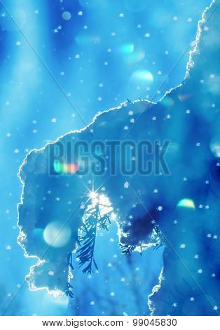 Snow Covered Twig With Sunburst, Winter Background With Flares And Snow Flakes
