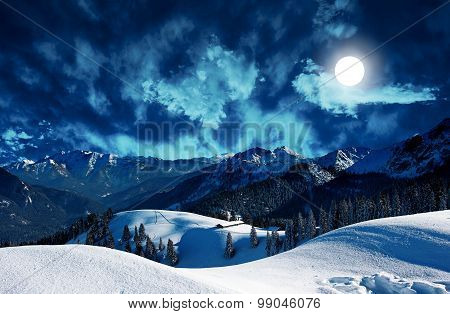 Mystic Winter Landscape With Full Moon