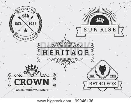 Set of different retro badge design. For logo, label, emblem, banner, sticker