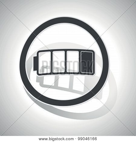 Curved low battery sign icon