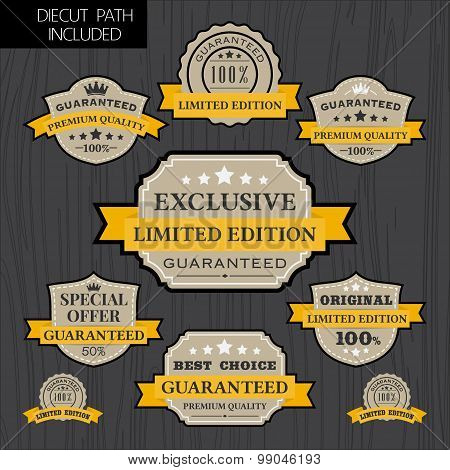 Set of vintage label design with yellow ribbon template
