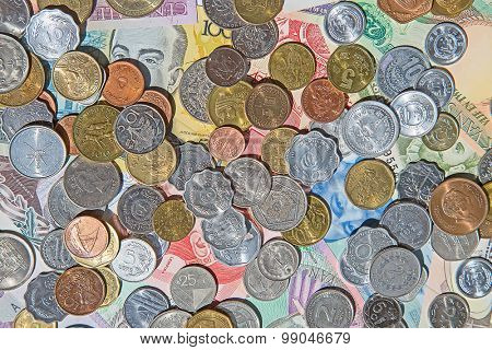 Collection of the old circulated coins and notes