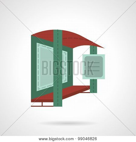 Bus stop with banner vector icon