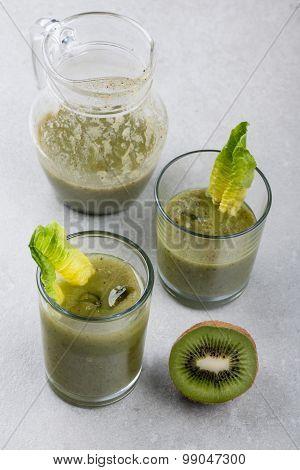 Kiwi Juice In The Glasses