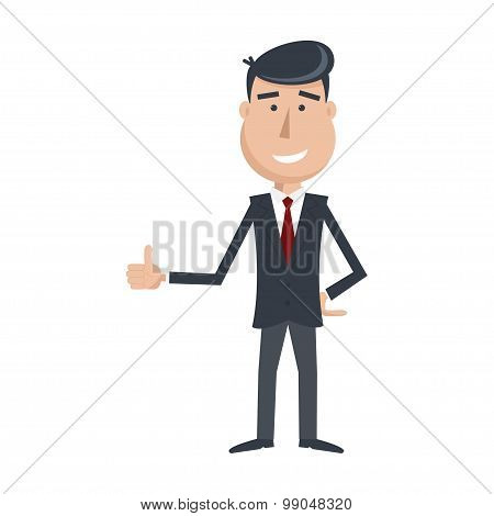 Funny Man In Suit And Tie, Shows His Hand Like Icon.
