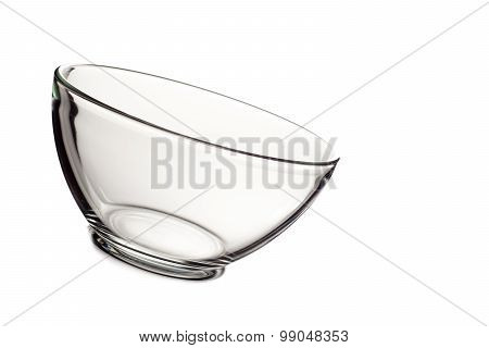 Empty glass bowl isolated on white background