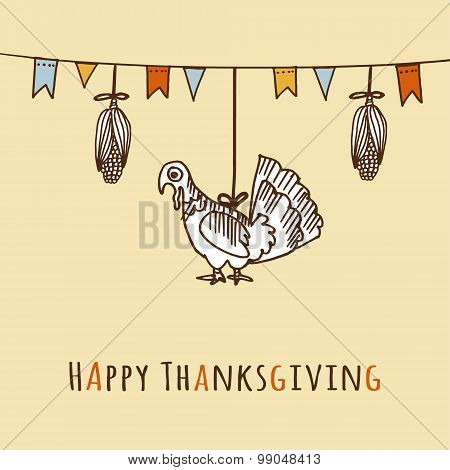 Thanksgiving Day Card, Invitation With Corn, Turkey And Flags, Vector